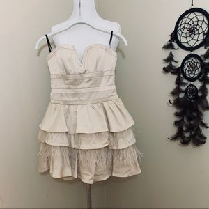 Bebe Rowen Feather Party Dress Cream Color